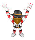 D red villain robot with both hands in a gesture of surrender create humanoid series Stock Image