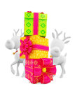 D reindeer with gift box colorful Royalty Free Stock Photography