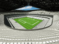 3D render of beautiful modern large American football stadium with white seats Royalty Free Stock Photo