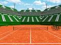 3D render of beautiful modern tennis clay court stadium green seats for fifteen thousand fans