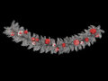 3d render of a beautiful silver Christmas wreath decoration on black background