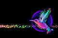 D render colibri bird hummingbird striped silhouette stars Stock Photo