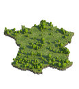 3d render of france map section cut isolated on white with clipping path Royalty Free Stock Photo