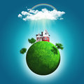 3D render of a grassy globe with a house and trees under rainbow Royalty Free Stock Photo