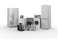 D render of household appliances on white background Stock Photo