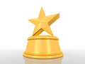 D render illustration of a golden star on a gold podium Royalty Free Stock Photo