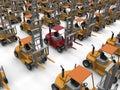 Forklifts rectangular pattern