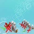 D render of man with correct and wrong symbols on colorful background front side angle view Royalty Free Stock Image