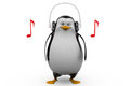 D render of a penguin in glasses listening to tunes on his headphones laptop with need more time concept white background front Stock Images