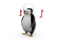 D render of a penguin in glasses listening to tunes on his headphones laptop with need more time concept white background side Stock Image