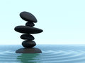 D render pile six textured black zen stones rippling silky shallow water Stock Images