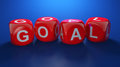 D render of red dices with goal text Royalty Free Stock Photo