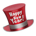 D render of a red happy new year top hat with shiny metallic flakes style surface isolated on white background Stock Photography