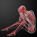 D render red skeleton side view Stock Photo