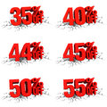 D render red text percent off on white crack hole background Stock Photo