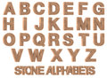 D render of stone alphabets rock marble on white background Stock Photography