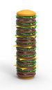 D render of a tall hamburger Royalty Free Stock Images