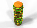 D render of a tall hamburger Royalty Free Stock Photos