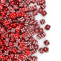 D render of transparent red dice spilling on to white background Royalty Free Stock Image