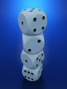 D render of white dices on blue background Stock Image