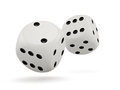 D render of white dices isolated on white background Stock Photography