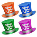 D rendered collection of colorful happy new year top hats with shiny metallic flakes style surface isolated on white background Royalty Free Stock Image