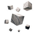 3D rendered, Cracked concrete cubes,  on white background Royalty Free Stock Photo