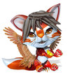 3D Rendered cute fantasy pet on white