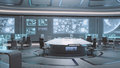 D rendered empty modern futuristic command center interior in blue colors Stock Images