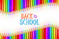 3d rendered illustration of Back to School graphic with ribbon of rainbow colored pencils Royalty Free Stock Photo