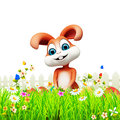 D rendered illustration brown easter bunny eggs garden Royalty Free Stock Image