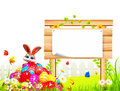 D rendered illustration brown easter bunny sitting pile eggs Stock Image
