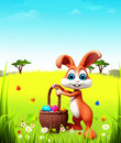 D rendered illustration easter bunny eggs basket grass Stock Images