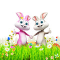 D rendered illustration easter bunny inside garden eggs Royalty Free Stock Images