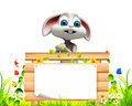 D rendered illustration gray easter bunny big sign green grass Stock Photo