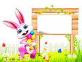 D rendered illustration pink easter bunny white sign eggs Stock Image