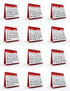 D rendered illustration of year monthly calendar Stock Image