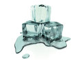 D rendered melting ice cubes with clipping path ilustration of a small amount of water as the is Royalty Free Stock Image