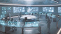 3D rendered, modern, futuristic command center interior with people