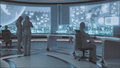 D rendered modern futuristic command center interior with people Stock Images