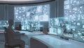 3D rendered, modern, futuristic command center interior with people Royalty Free Stock Photo