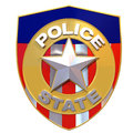 D rendered police state badge satirical illustration of a that says instead of Stock Photo