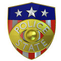 D rendered police state badge satyrical illustration of a that says instead of Stock Photography