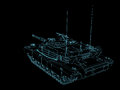 3D Rendered Wire frame military battle tank