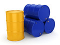 3D rendering blue and yellow barrels