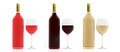 3d rendering bottles and glasses of wine on white background