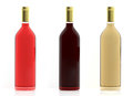 3d rendering bottles of wine on white background