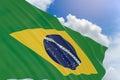 3D rendering of Brazil flag waving on blue sky background