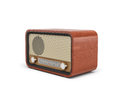 3d rendering of a brown rounded retro style radio receiver with an analogue tuner.