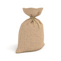 3d rendering of burlap money bag isolated on white background.